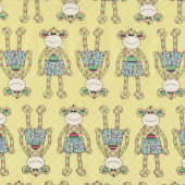 Monkeys Little Menagerie Yellow Melly And Me Quilt Fabric