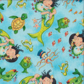 Mermaid Merriment on Ocean Blue Turtles Quilting Fabric