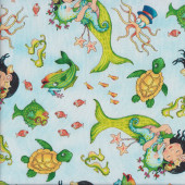 Mermaid Merriment on Light Blue Turtles Quilting Fabric