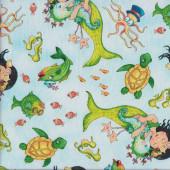 Mermaid Merriment on Light Blue Turtles Quilting Fabric