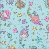 Pretty Mermaids with Silver Metallic on Aqua Fish Quilting Fabric