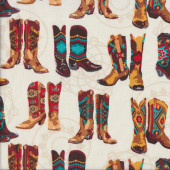Cowboy Boots on Cream Rodeo Line Dancing Quilting Fabric