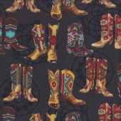 Cowboy Boots on Black Rodeo Line Dancing Quilting Fabric