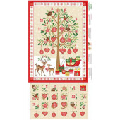 Christmas Advent Calendar with Metallic Gold Owls Quilting Fabric Panel