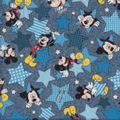 Mickey Mouse Stars on Denim Blue Licensed Disney Kids Fabric