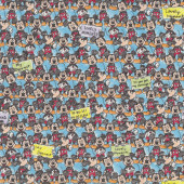 Mickey Mouse With Signs on Blue Boys Kids Licensed Fabric