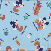 Mickey Mouse Cars Planes Trains Boys Kids Licensed Fabric