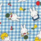 Miffy Rabbit Blue White Check Girls Kids Licensed Fabric