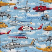 Helicopters Military Transport Quilting Fabric