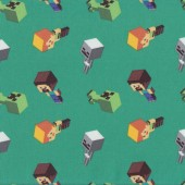 Minecraft Mobs on Green Video Game Quilting Fabric