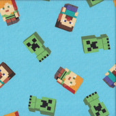 Minecraft Mojang Friends on Blue Video Game Quilting Fabric