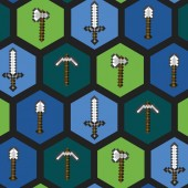 Minecraft Tools in Hexagons Video Game Licensed Quilting Fabric