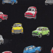 Mini Cars on Black Morris Minor Car Racing Mens Boys Quilting Fabric