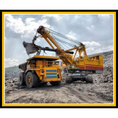 Dump Truck Excavator Mining Heavy Machinery Quilting Fabric Panel