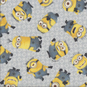 Minions on Grey Licensed Kids Quilting Fabric