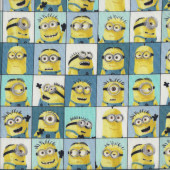 Minions in Squares Licensed Kids Quilting Fabric