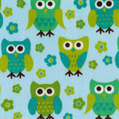 Green Owls and Flowers on Blue Minky Fabric
