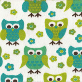 Green Owls and Flowers on White Minky Fabric