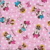 Minnie Mouse with Bows on Pink White Spots Fabric