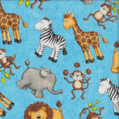 Cute Monkeys Giraffes Elephants on Blue Monkey Mischief Quilting Fabric