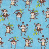 Cute Brown Monkeys Coconuts Branches on Blue Monkey Mischief Quilting Fabric