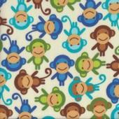 Monkeys on Cream Urban Zoologie Anne Kelle Kids FLANNEL Fabric