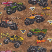 Monster Jam Trucks on Brown Dirt Tyres Boys Kids Sport Quilt Fabric