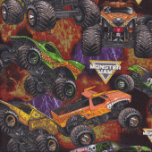 Monster Jam Trucks on Fire Lightning Tyres Boys Kids Sport Quilt Fabric