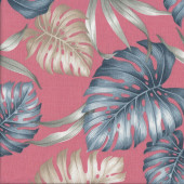 Monstera on Salmon Pink Plant Garden Gardening Quilting Fabric