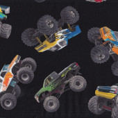 Monster Trucks on Black Wheels Tyres Boys Kids Sport Quilt Fabric