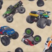 Monster Trucks on Cream Wheels Tyres Boys Kids Sport Quilt Fabric
