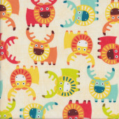 Colourful Moose on Beige Kids Quilting Fabric