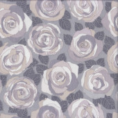 Mosaic Roses with Leaves on Grey Stone Flowers Quilting Fabric