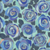 Blue Mosaic Roses with Leaves on Aqua Flowers Quilting Fabric