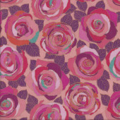 Pink and Red Mosaic Roses with Leaves Flowers Quilting Fabric