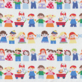 Mother Goose Tales Children Holding Hands on White Quilt Fabric