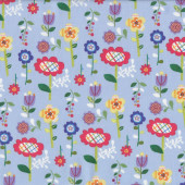 Cute Colourful Garden Flowers Mother Goose Tales on Blue Quilt Fabric
