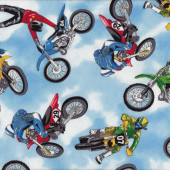 Dirt Bikes Riders Motocross Extreme Sport Motorbikes Boys Quilting Fabric