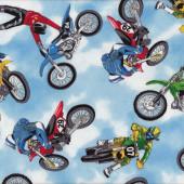 Motocross Quilting Fabric Remnant 42cm x 112cm