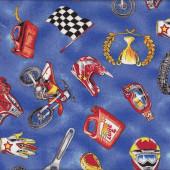 Motocross Dirt Bikes Motorbikes Helmet Gloves Flags Boys Quilt Fabric