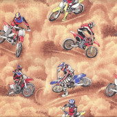 Motocross Dirt Bikes Motorbikes Motorcycles Boys Quilt Fabric