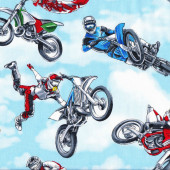 Dirt Bikes Extreme Sport Motorbikes Motocross Boys Quilting Fabric