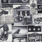 Old Black and White Motorbike Signs Motorcycles Boys Quilting Fabric