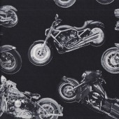 Classic Motorbikes on Black Motorcycles Boys Mens Quilting Fabric