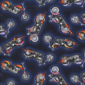Motorbikes on Blue with Flames Motorcycles Boys Mens Quilting Fabric