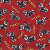 Motorcycles on Red Biker For Life Motorbikes Quilting Fabric