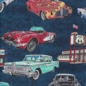 American Retro Classic Cars Diner Drive in on Blue Quilting Fabric