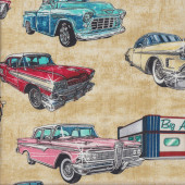 American Retro Classic Cars Diner Drive in on Beige Quilting Fabric