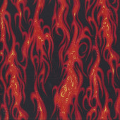 Red Flames on Black Movin On Motor Racing Cars Quilting Fabric