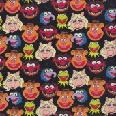 Muppets Kermit Miss Piggy and Fozzie on Black Licensed Quilting Fabric